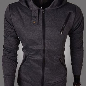 Deep Gray Multi-Zipper Long Sleeves Hoodies