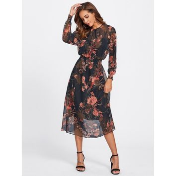 Multicolor Round Neck Long Sleeve Floral Print Mesh Dress