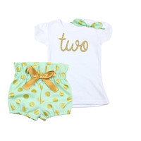 2nd Birthday Outfit with High Wisted Bloomers and Hair Bow or knotted headband, Mint and Gold Girls Polka Dot Birthday Outfit