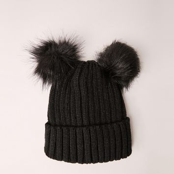 Missguided - Double Pom Beanie Hat Black