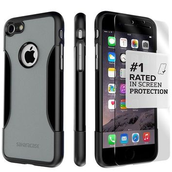 DCK4S2 iPhone 7 Case, SaharaCase Protective Kit Bundle with [ZeroDamage Tempered Glass Screen Protector] Rugged Protection Anti-Slip Grip [Shockproof Bumper] Slim Fit - Black Gray