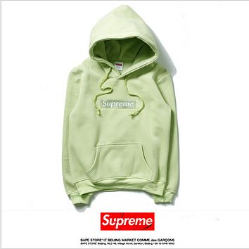 Supreme hooded sweater Men and women couples round neck loose loose velvet leisure movement green tea coat
