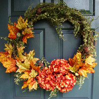 Autumn Wreath - Fall Door Wreath - Autumn Leaves - Door Wreath Fall - Hydrangea Wreath - Wreaths - Fall Entryway Decor  - Fall Porch Decor