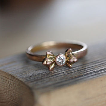 $598.00 Moissanite and 14k Rose Gold Double Bud Ring Made to Order by onegarnetgirl