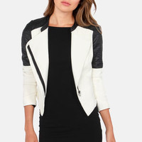 Moto With the Flow Black and Ivory Vegan Leather Moto Jacket