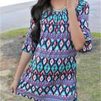 Geometry Printed Ethnic Style Summer Beach Dress