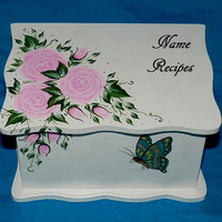 Hand Painted Personalized Wood Recipe Box Decorative Butterfly Recipe Card Box Wooden Wedding Recipe Organizer Pink Roses Bridal Shower Gift