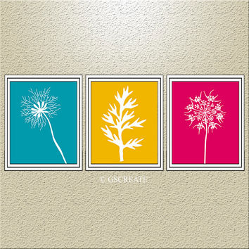 DANDELION Dandelions Flowers Gifts Prints TURQUOISE YELLOW Hot pink Wall Art Bedroom Bathroom Home decor abstract print set of 3 or Canvas
