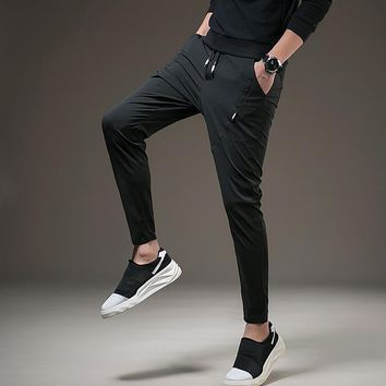 2018 Autumn Men's Sweatpants Casual Slim Fit Trousers With Pocket Male Elastic Waist Straight Comfortable Workout Sweatpants