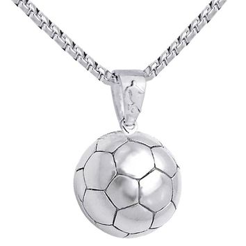 3D Football Pendant Necklace Men Soccer Ball Stainless Steel Chain Sport Hippie Power Necklace Uomo Sports Men Hip Hop Jewelry