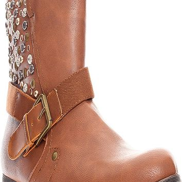 BROWN FAUX LEATHER SIDE STUDDED ACCENTS BUCKLE STRAP LOOK SIDE ZIPPER BOOTS