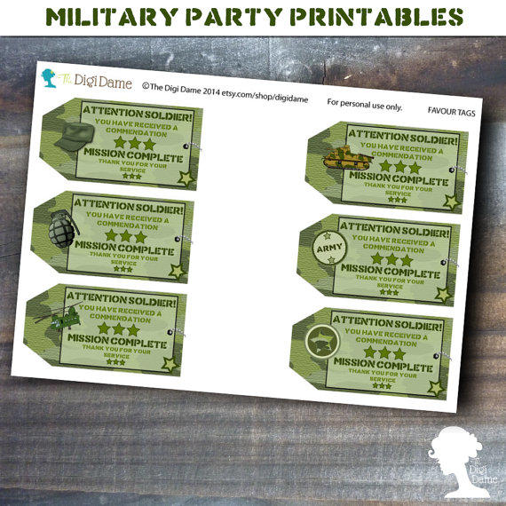 Party Printable Military Army Soldier From Digidame On Etsy