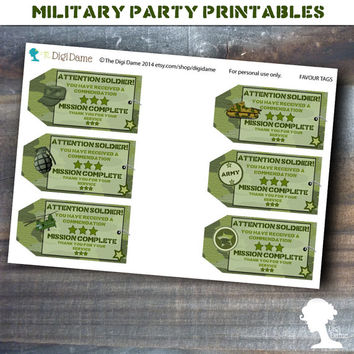 Party Printable Military Army Soldier Boot Camp Favor Thank You Tags in Green Camouflage