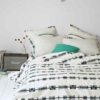 Bohem Hand-Block Arrows Duvet Cover- Navy Full/queen