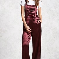 Crinkled Satin Overalls