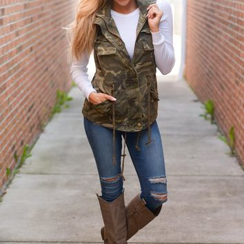Born & Raised Camo Hooded Vest