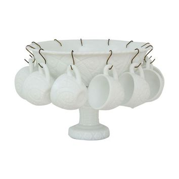 Pre-owned Milk-Glass Punch Bowl Set by The Concord