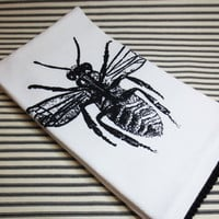 Cotton huck tea towel with black bee insect hand screen printed in black fabric ink