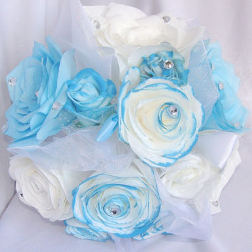 Bouquets, Bridal bouquet, Turquoise wedding bouquet, Paper Bouquet, Wedding party bouquet package,Fake flower bouquet, silk bouquet, corsage