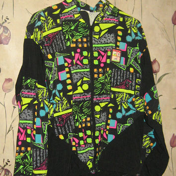 vintage 80s  unisex colorful warm up JACKET by tri-fit sportswear  usa made  size large