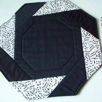 Quilted Table Topper and Two Placemats - Octagon - Set of 3 - Black and White - Music Note Print