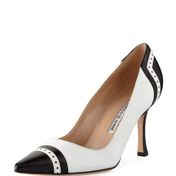 Manolo Blahnik Ovate Cap-Toe Leather Pump