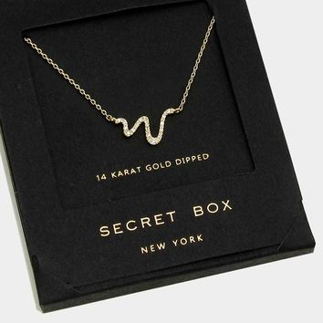 14 K Gold Dipped Crystal Snake Pendant Necklace With Secret Box