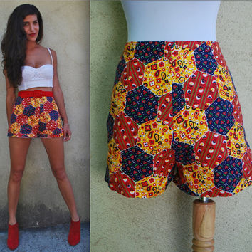 Vintage 60s 70s Honeycomb High Waisted Patchwork Hot Pants (size small, medium)