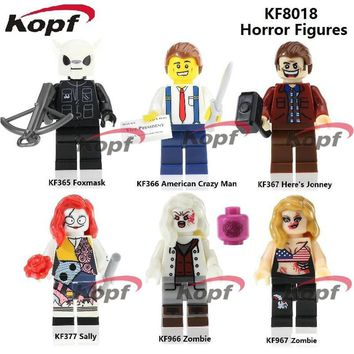 KF8018 The Horror Theme Movie Figures American Crazy Man Foxmask Here's Jonney Zombie Building Blocks Bricks Children Gift Toys
