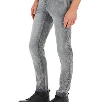 Grey Acid Wash Stretch Skinny Jeans - Mens Jeans - Clothing