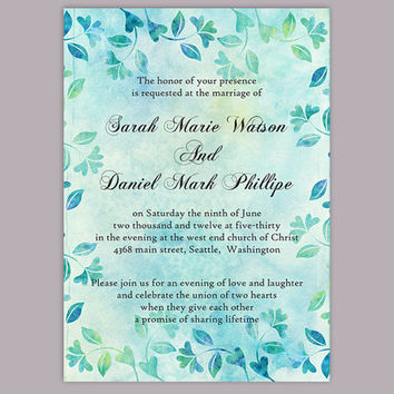 DIY Rustic Wedding Invitation Template Editable Word File Download Printable Vintage Invitation Blue Invitation Leaf Floral Invitation