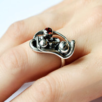 Silver Garnet Ring, Recycled Jewelry, Sustainable Silver, Artisan Jewelry, Red Stone Ring, One of a Kind