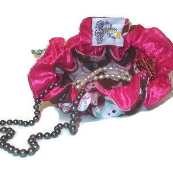 Drawstring Travel Jewelry Pouch / Satchel - Brown with Pink and Blue Owls and Pink Satin