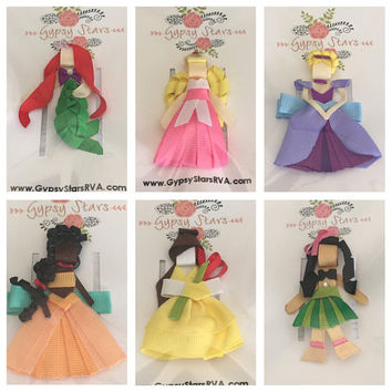 Sculpture princess Hair Clip Pick 3 Disney Princess Hair Bow Clip - Ariel Belle Aurora Cinderella Merida Tinkerbell Anna Elsa Rapunzel Elena