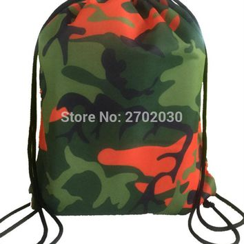 Colorful camouflage Drawstring Bags Women Backpack Digital Printing Pouch Customize Bags 35*45cm