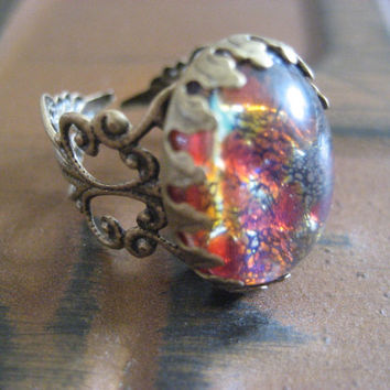 Ruby Red Fire Opal Ring- Adjustable Antique Bronze Filigree Simulated Glass Gem One Size Fits All 5 6 7 8 9