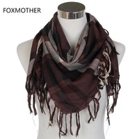 FOXMOTHER 2017 Male Coffee Multicolor Arab Keffiyeh Shemagh Scarf For Mens