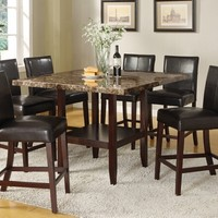 7 pc Idris II collection faux marble top counter height pedestal dining table set with espresso finish wood frame