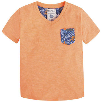 Mayoral Boys Papaya Floral pocket T-shirt