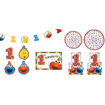 1st Birthday Elmo Room Decorating Kit 10 piece Party Supplies Elmo Sesame Street Fun to be One!