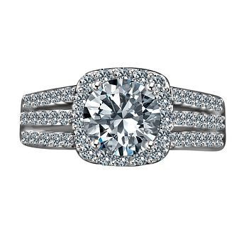 2 CT.(8mm) Intensely Radiant Round Diamond Veneer Cubic Zirconia Split Shank Square Halo Set in Sterling Silver Engagement/Wedding Ring. 635R4009