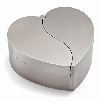 Pewter-tone Finish Hinged Heart Jewelry Box - Engravable Personalized Gift Item
