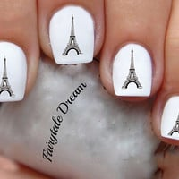 1142 Eiffel Tower 20 Water Slide Nail Art Transfer Decals stickers