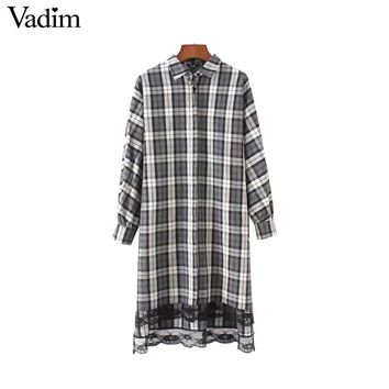 Women Lace Patchwork Plaid Loose Long Shirts Over Sized Long Sleeve Side Split Blouses Vintage Female Tops