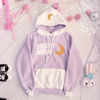 White/Purple Bright Moon Hoodie Jumper SP1811848