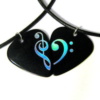 Clef Heart Guitar Pick Necklace Set, black & silver, music lover pair