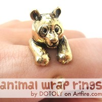 Large 3D Panda Bear Animal Wrap Around Ring in SHINY Gold Sizes 4 to 9