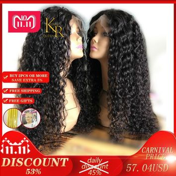 Cool Curly Lace Front Human Hair Wigs For Women With Pre Plucked Bleached Knots 13*4 Lace Wig Brazilian Remy Hair Full Natural BlackAT_93_12