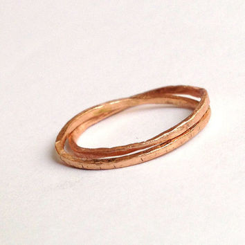 Rose Gold Double Interlocking Ring - Rolling Ring - Thin Ring - 18 Carat - Organic Texture - Wedding Band - Two Linked - Delicate and Dainty
