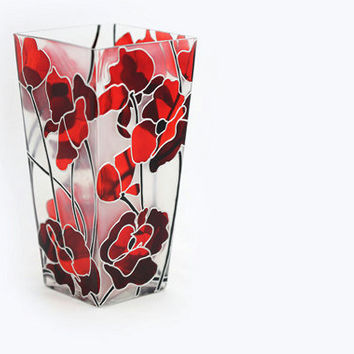 Bouquet of Poppies  Hand Painted Glass Vase  by SylwiaGlassArt